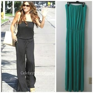 NEW! Tart TEAL Strapless Wide Leg Pants Jumpsuit